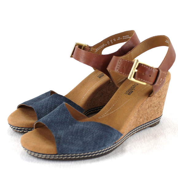 aaecd380443730 Clarks Shoes - Clarks Collection Helio Jet Wedge Sandals Blue